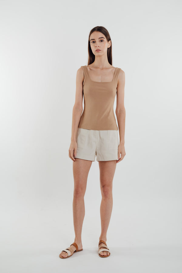 Square Neck Knit Tank in Sand