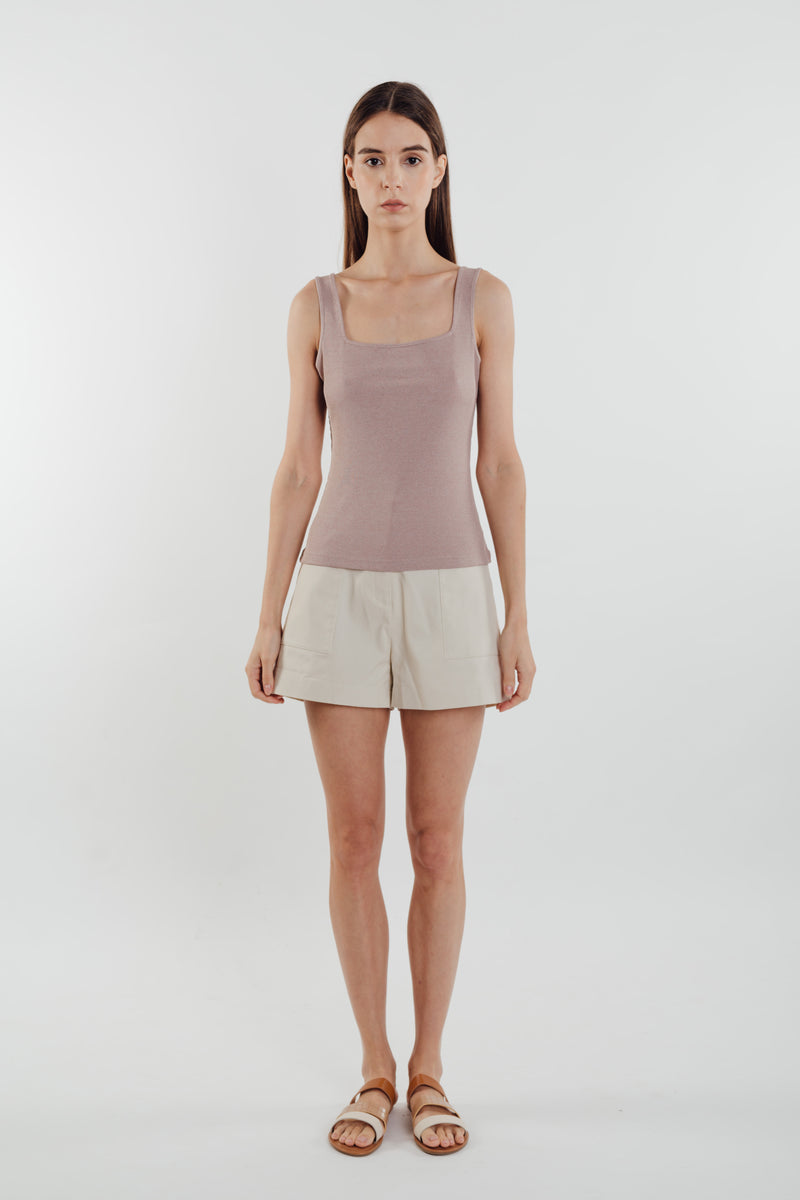 Textured Ribbed Knit Tank in Pebbled Pink