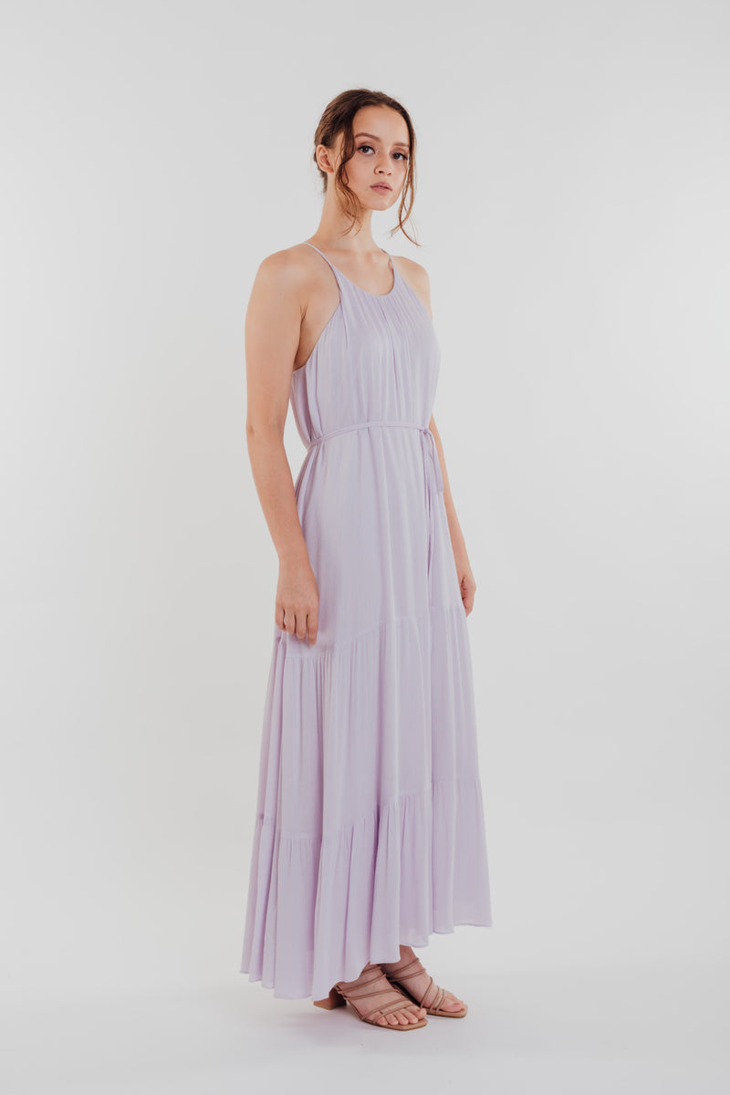 Textured Crepe Maxi Dress in Orchid