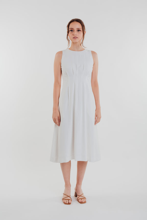Box Pleated Midi Dress in White