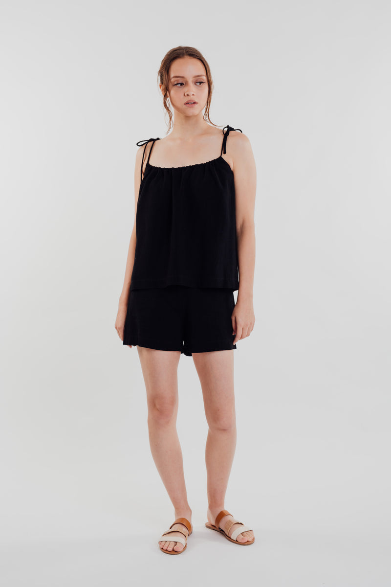 Linen Strap Top in Black