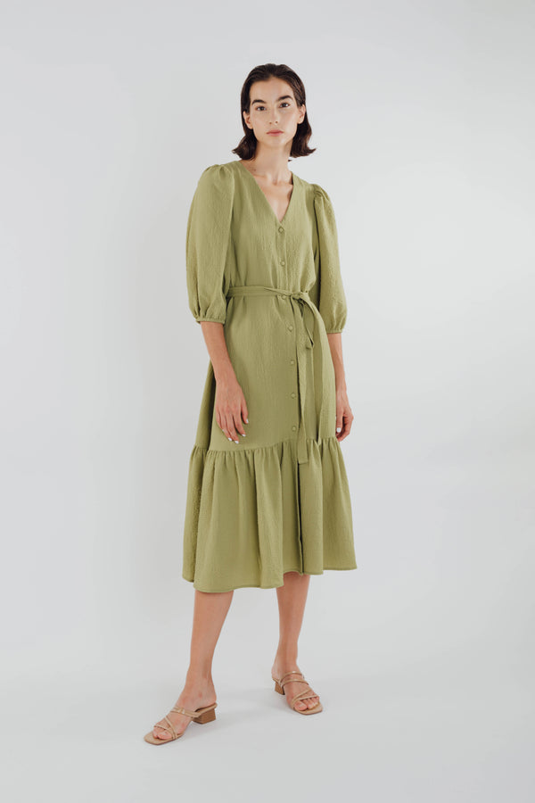 V-neck Midi Dress with Puffed Sleeves in Olive