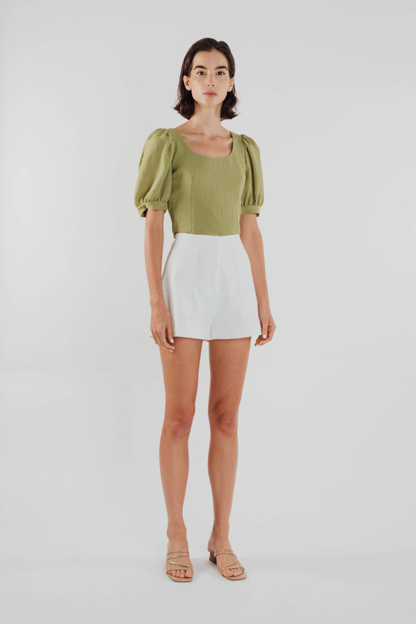 Puffed Sleeved Textured Top in Olive