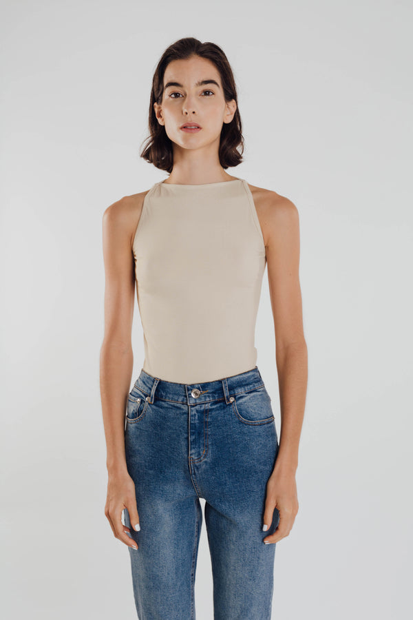 Boat Neck Knit Top in Natural