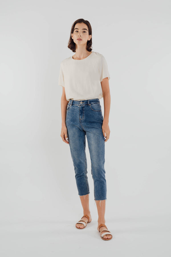High-waisted Straight Tailored Jeans