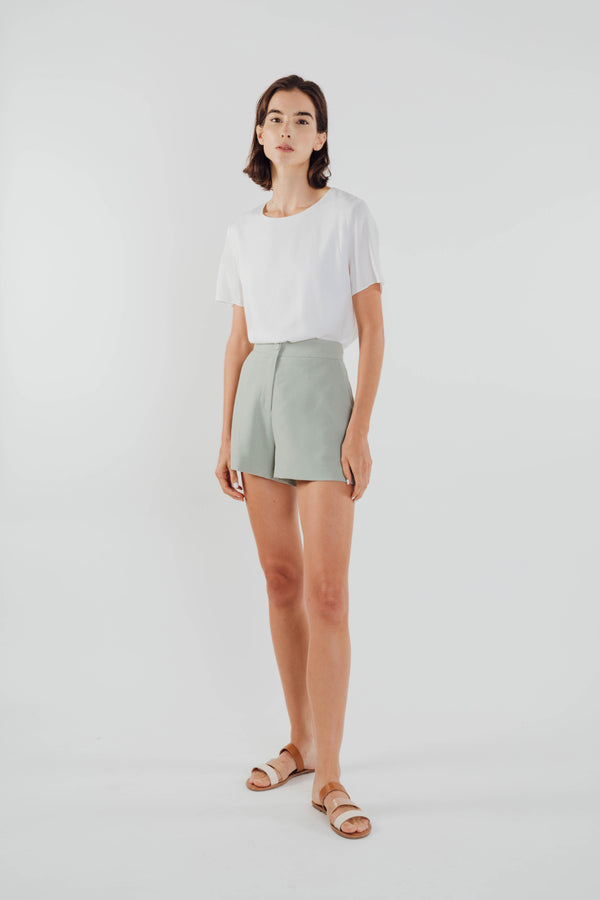 Flared Shorts in Sage