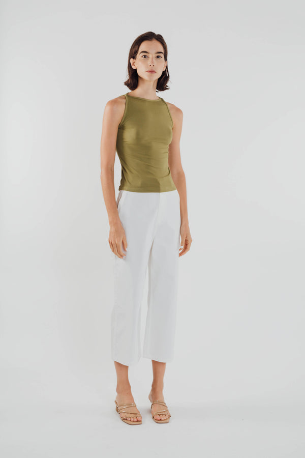 Boat Neck Knit Top in Olive