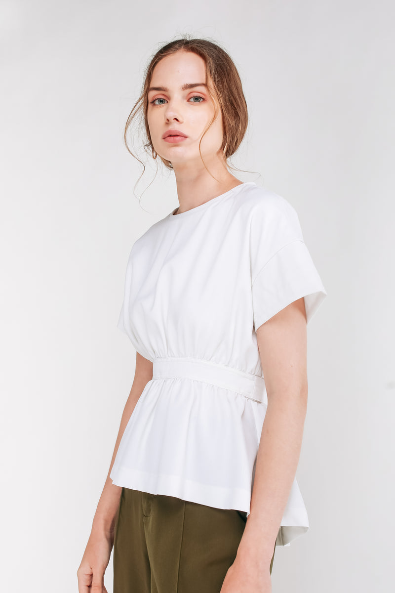 Short Sleeved Peplum Top With Sash In White