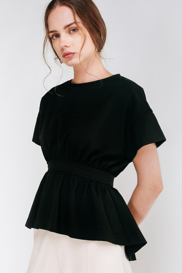 Short Sleeved Peplum Top With Sash In Black