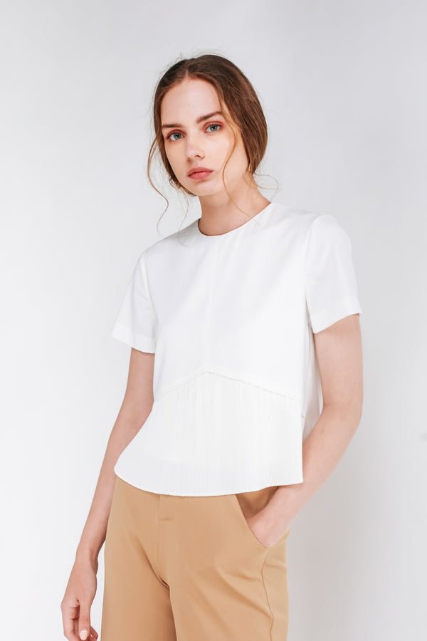 Pleated Hem Top In White