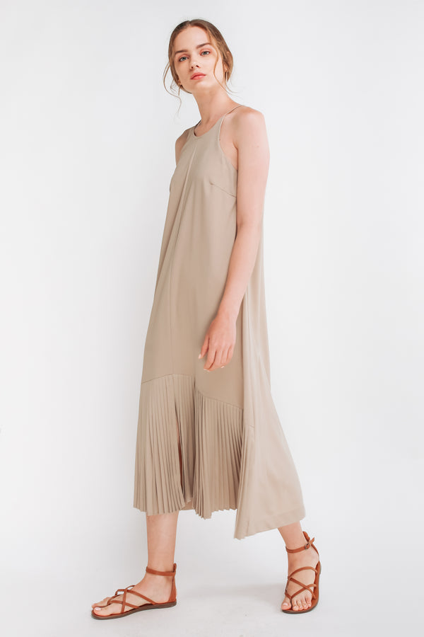 Pleated Maxi Dress In Khaki