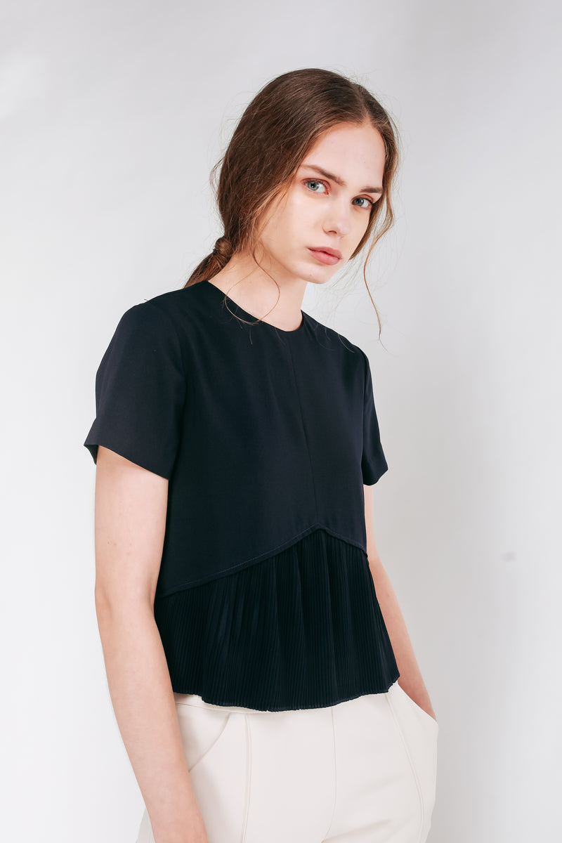 Pleated Hem Top In Navy Blue