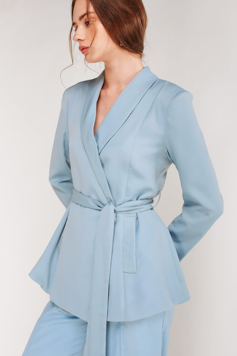 Wrap Blazer With Sash In Sky Blue
