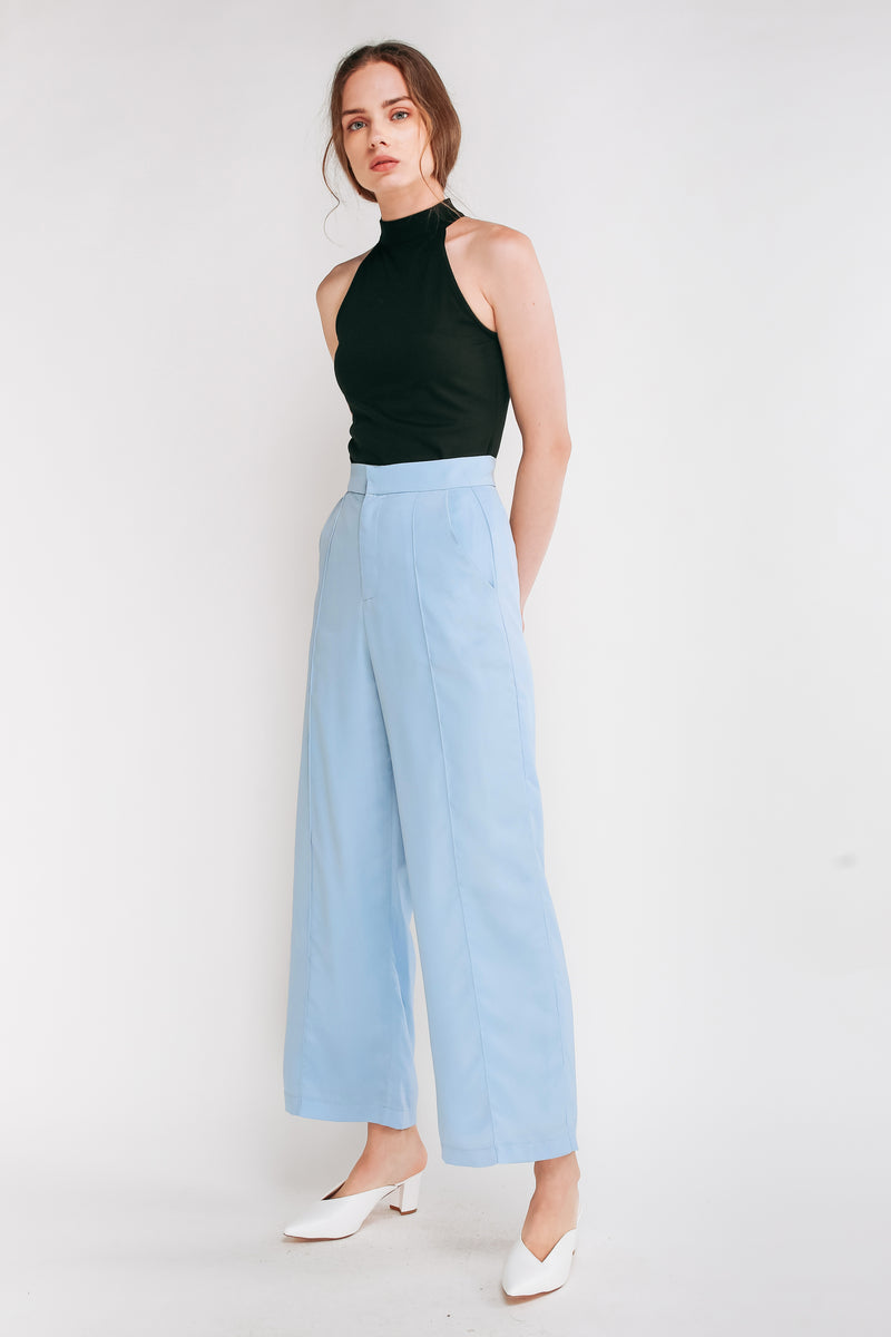 High Waisted Trousers With Stitchlines In Sky Blue