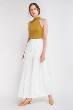 Tie Front Wide Leg Palazzos In White