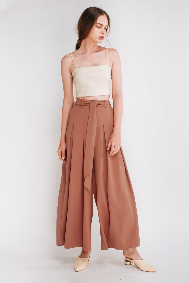 Tie Front Wide Leg Palazzos In Rose pink