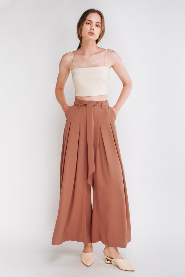 Tie Front Wide Leg Plazzos In Rose pink