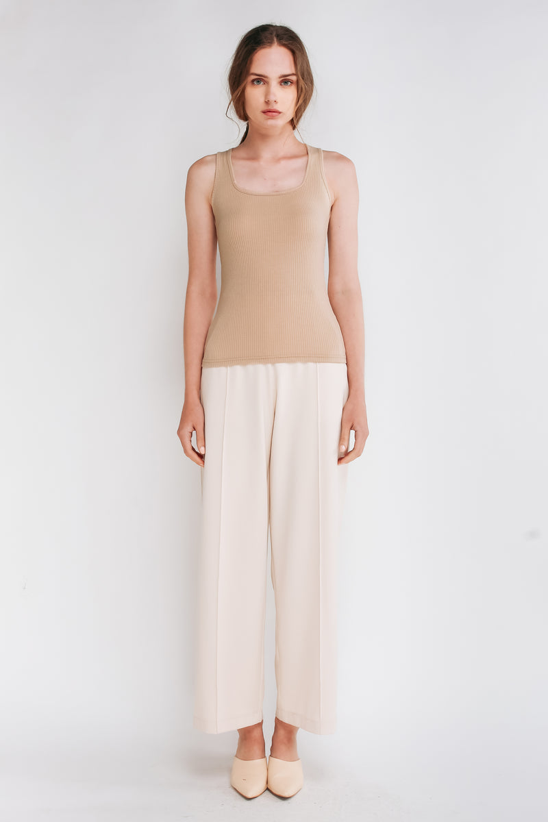 Square Neck Tank Top In Beige