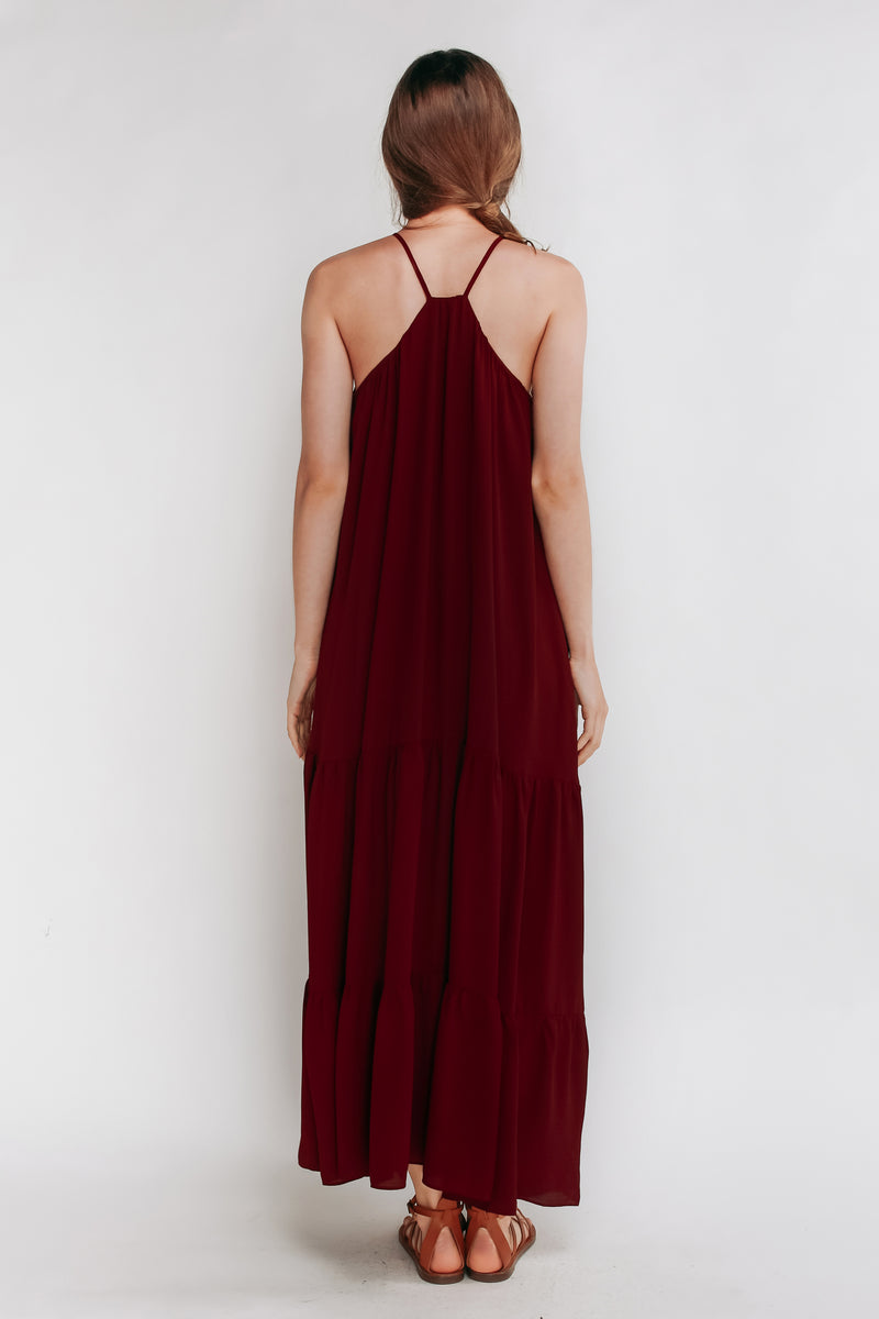Tiered A-Line Dress in Maroon