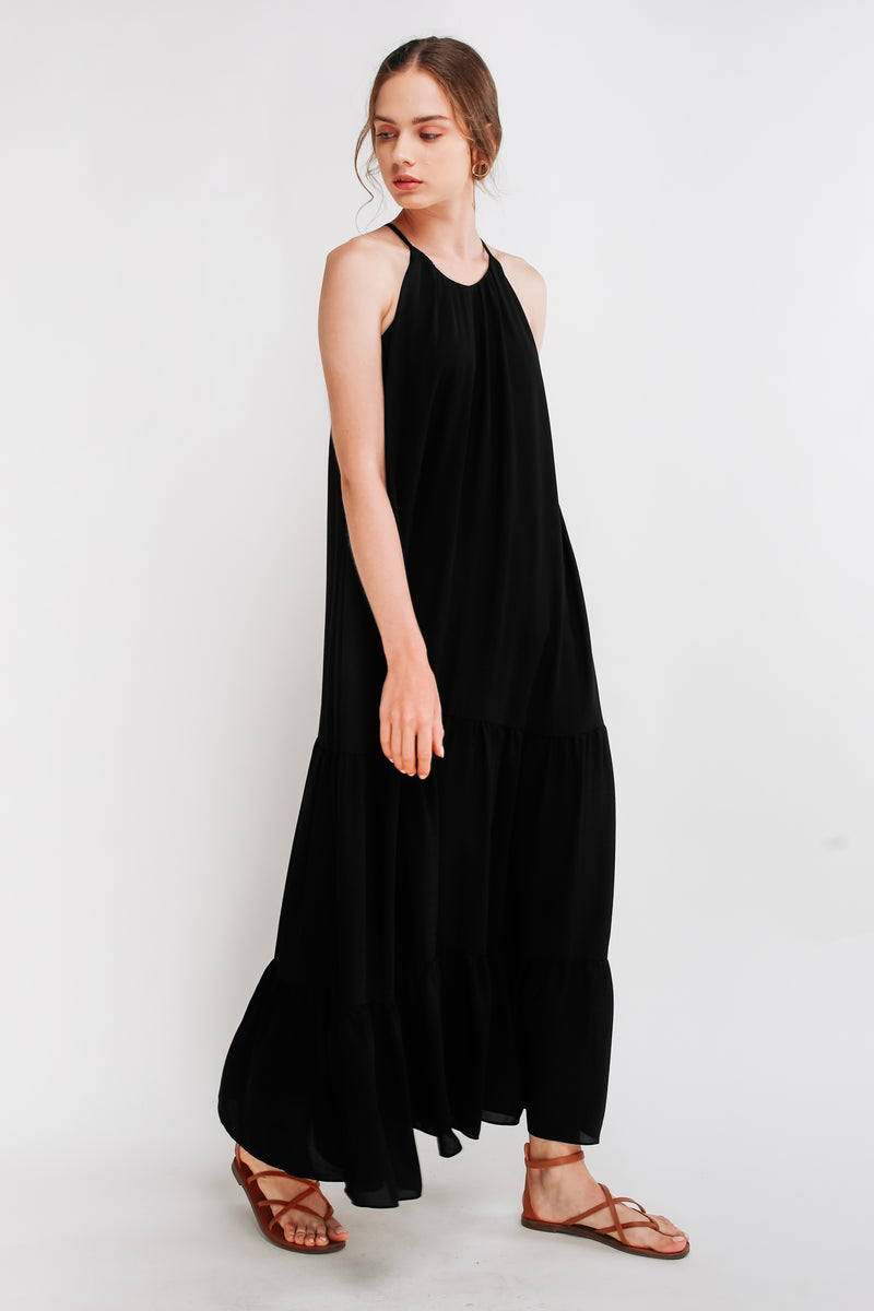 Tiered A-Line Maxi Dress in Black