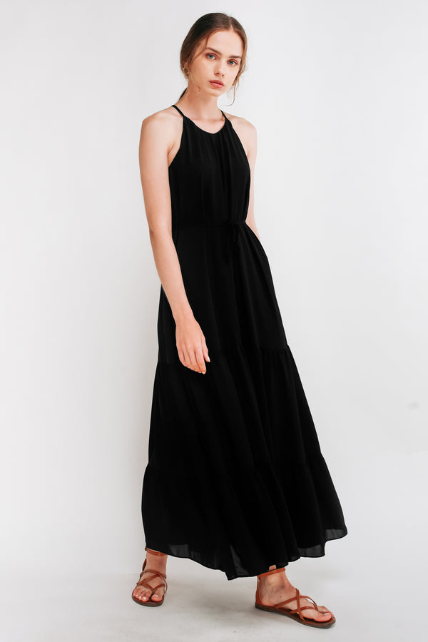 Tiered A-Line Dress in Black
