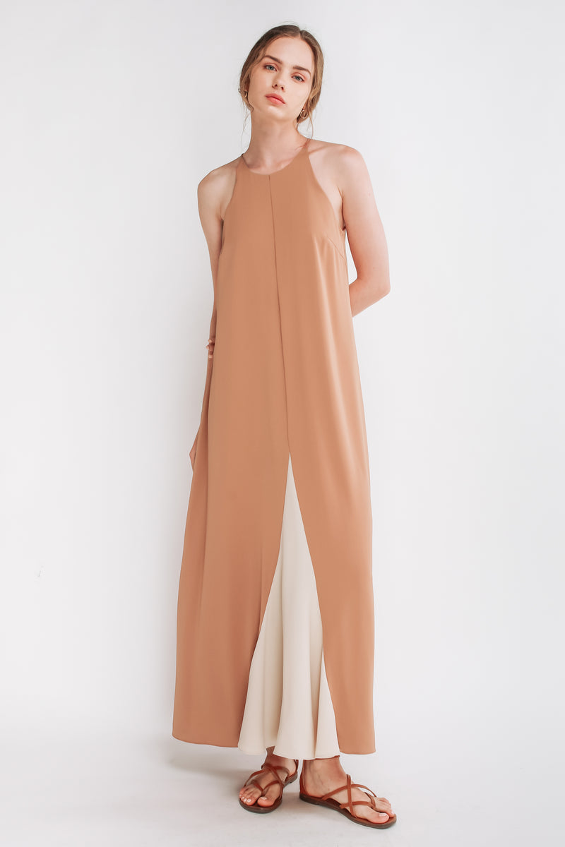 Two-tone Halter Maxi Dress In Salmon Pink