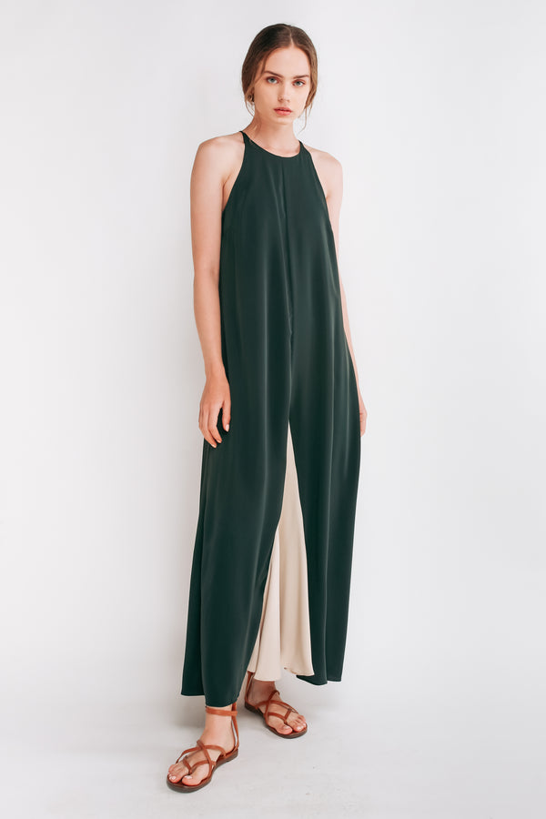 Two-tone Halter Maxi Dress In Emerald Green
