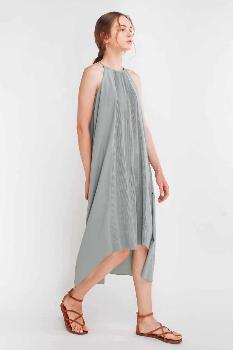 Pleated Halter Dress In Sky Blue