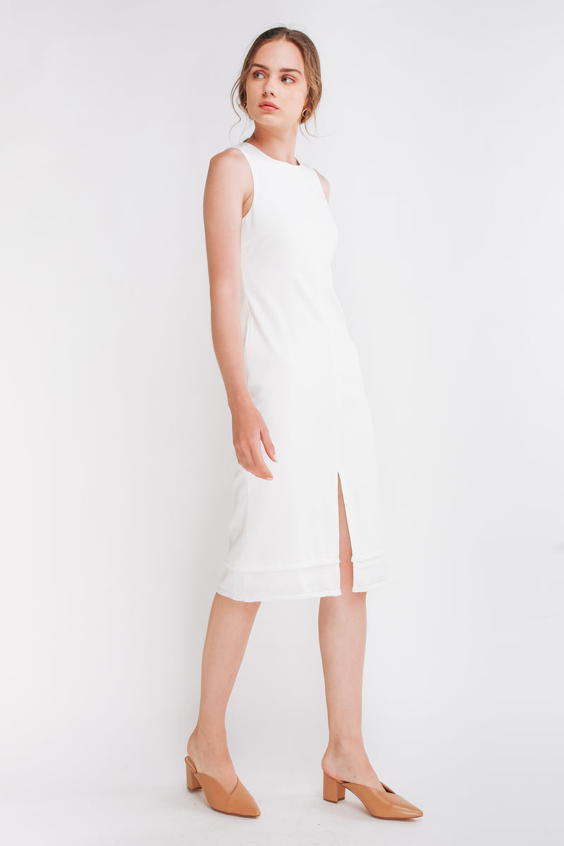 Front Slit Midi Dress W Fringe Detailing In White