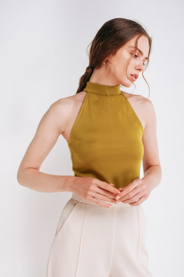 Halter Neck Top In Mustard