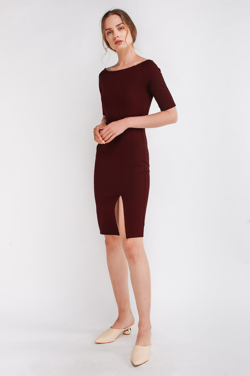 Off Shoulder Panels Midi Dress In Maroon