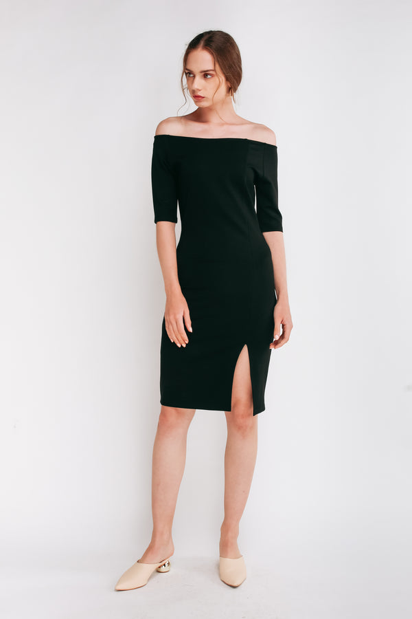 Off Shoulder Panels Midi Dress In Black