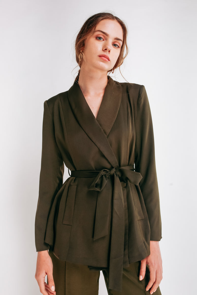 Wrap Blazer With Sash In Forest Green