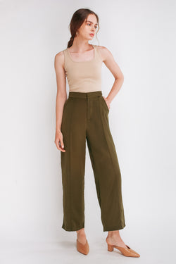 High Waisted Trousers With Stitchlines In Forest Green