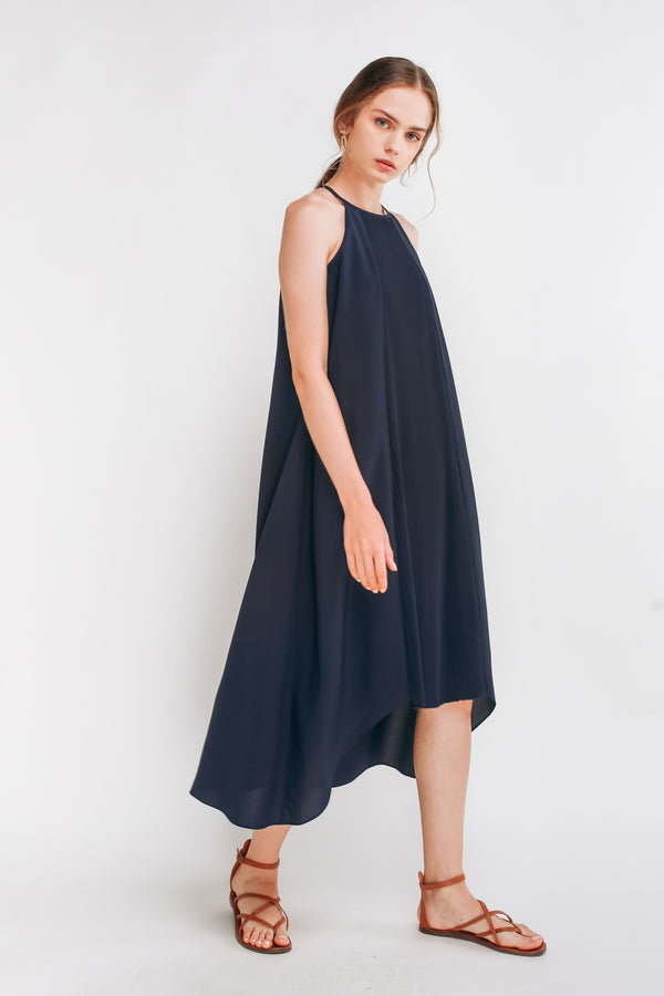 Pleated Halter Dress In Navy Blue