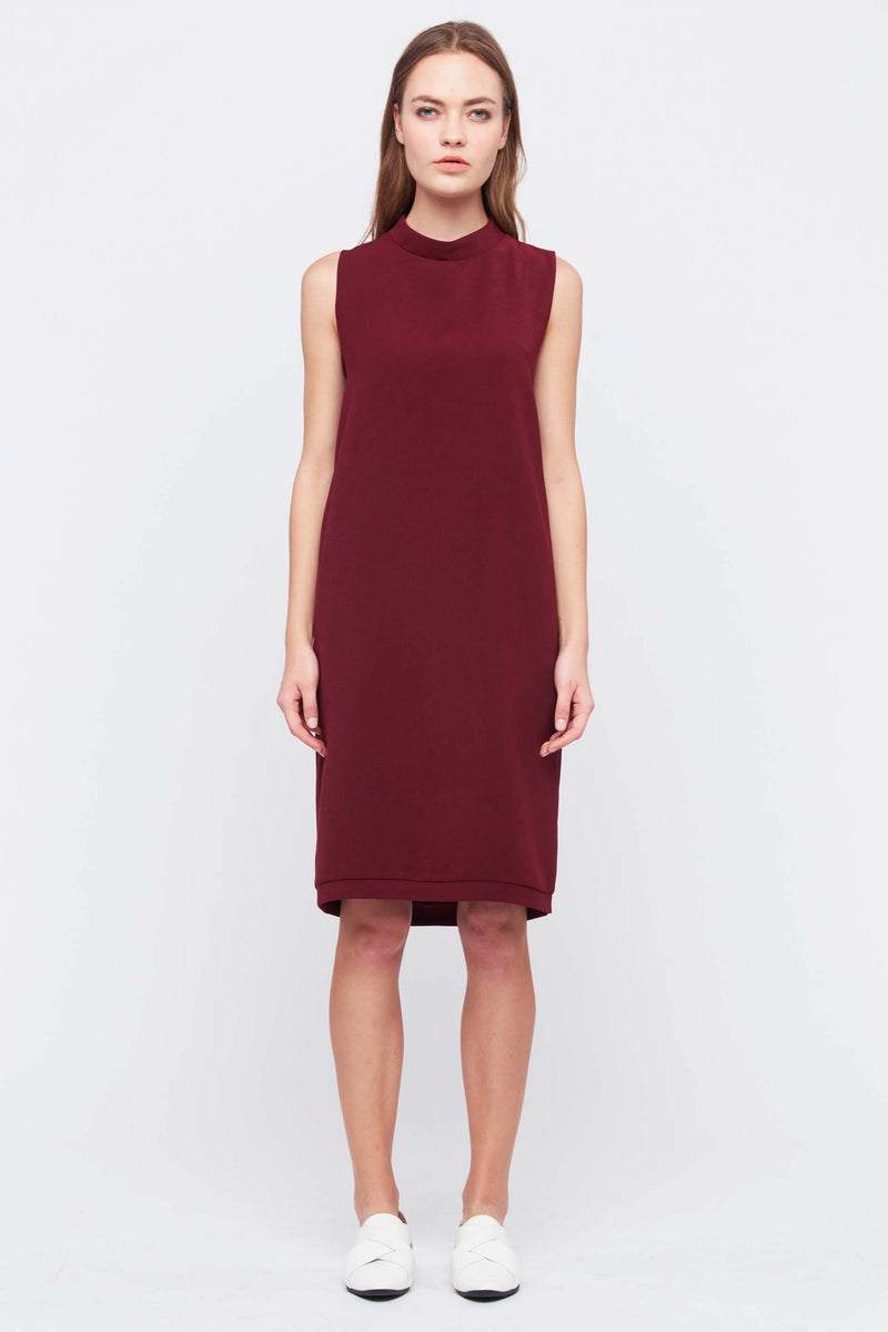 Column Shift Dress In Red