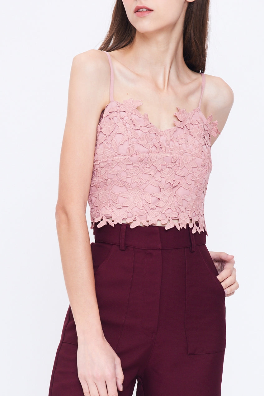 V Neck Lace Bustier In Blush