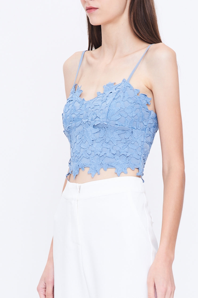 V Neck Lace Bustier In Blue