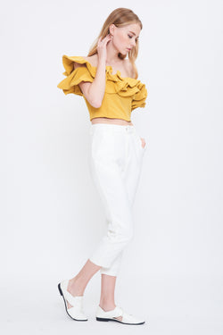 Ruffle Convertible Top In Mustard