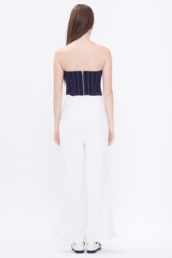Pleated Bustier In Stripe