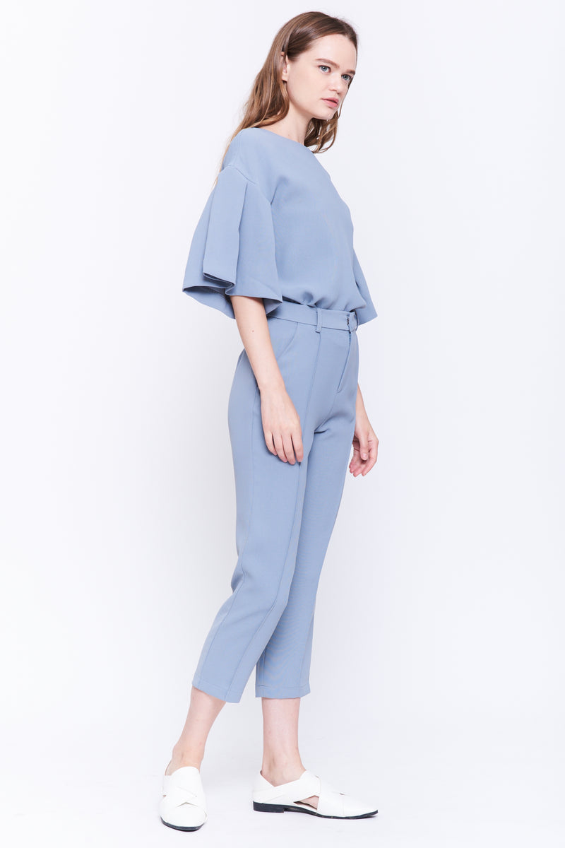 Pleat Sleeve Top In Blue Grey