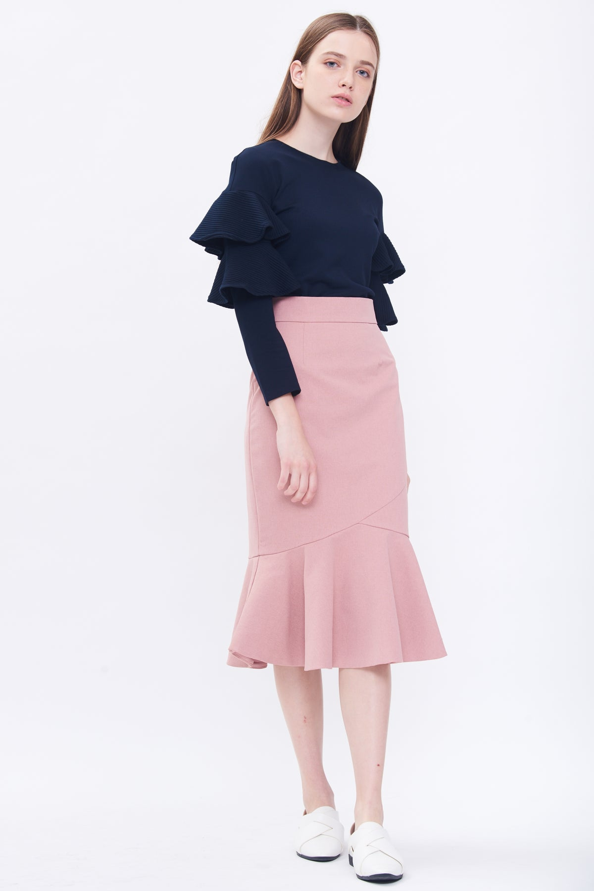 Peplum Midi Skirt In Pink