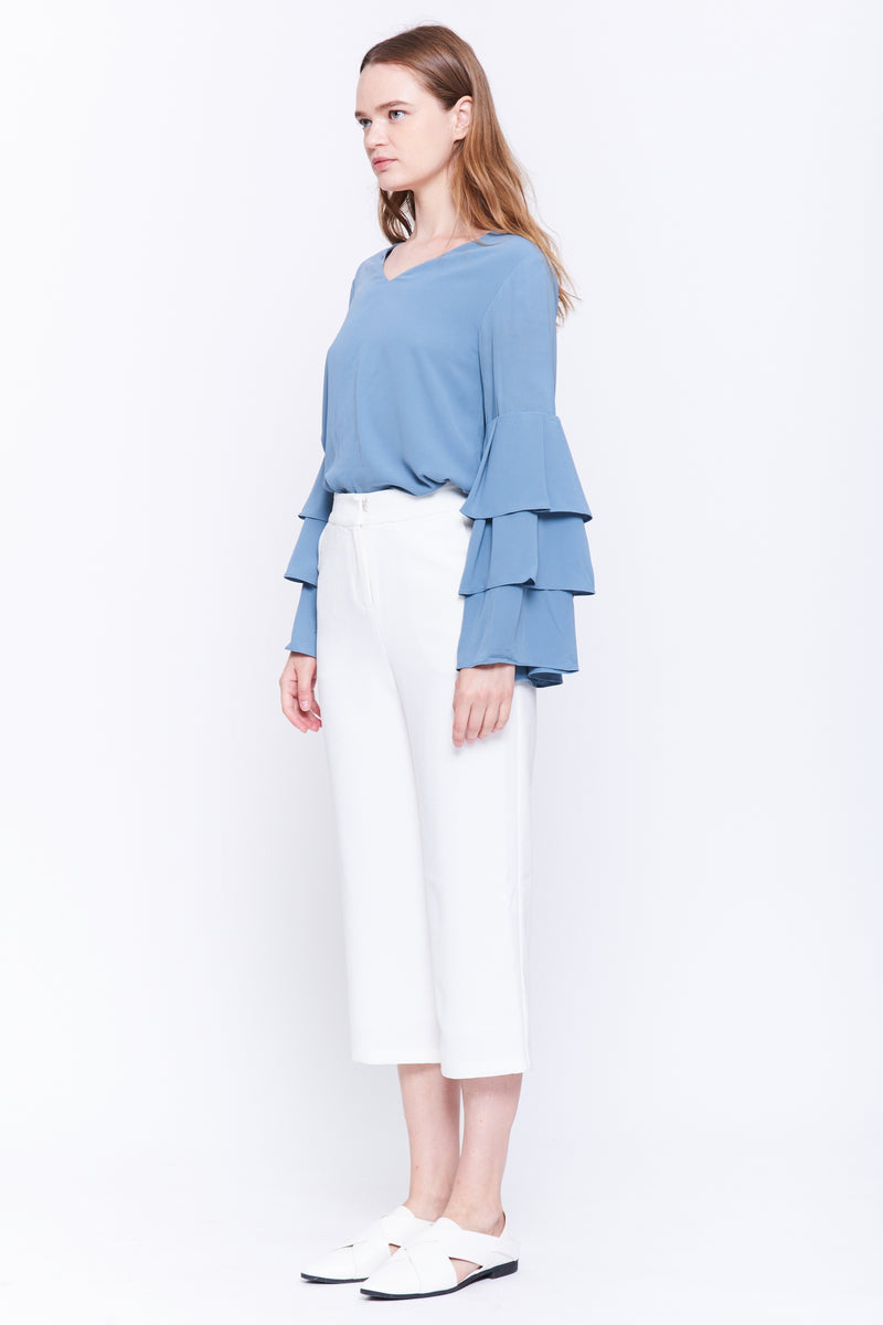 Tiered Sleeve Blouse In Grey Blue