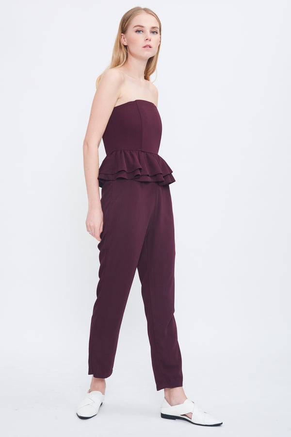 Peplum Tube Jumpsuit In Plum
