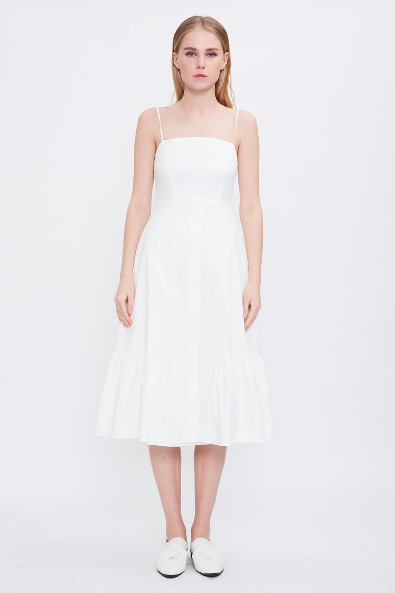 Tiered Hem Sundress In White