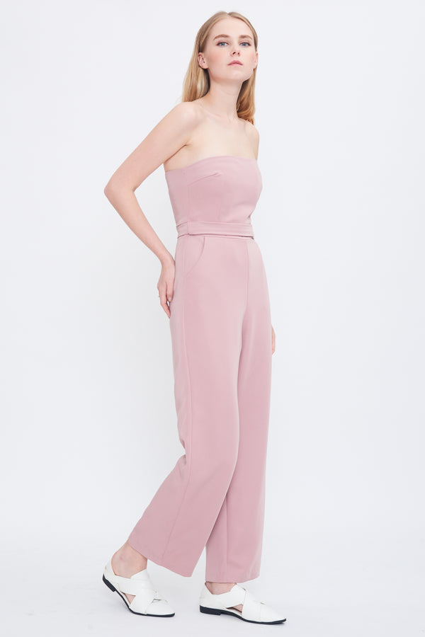 Belted Tube Jumpsuit In Pink