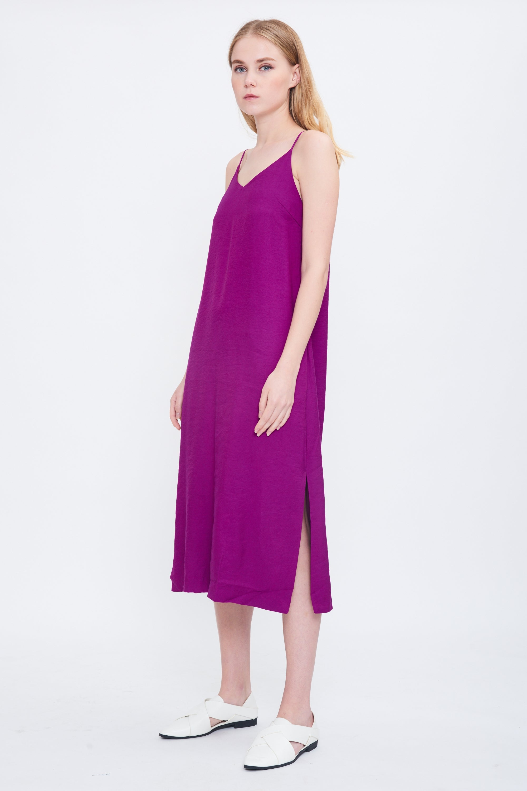 Midi Slip Dress In Orchid