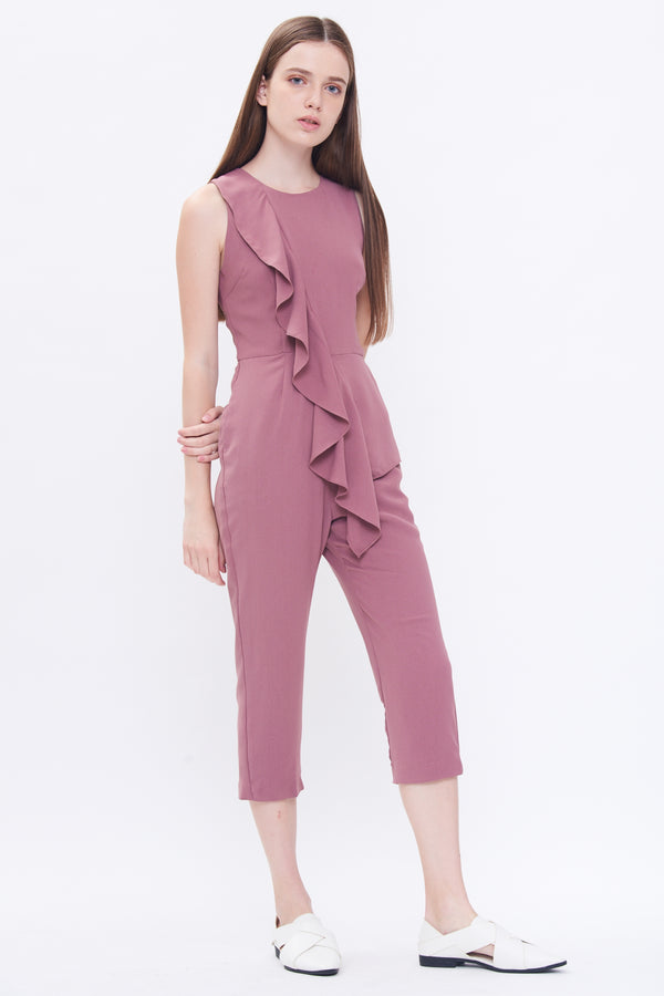 Ruffle Jumpsuit In Mauve Pink