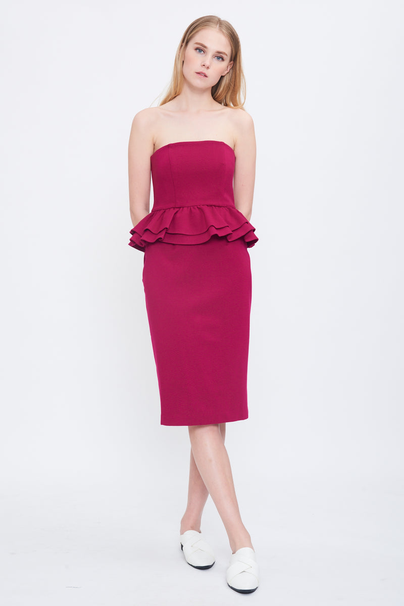 Peplum Tube Midi Dress In Magenta