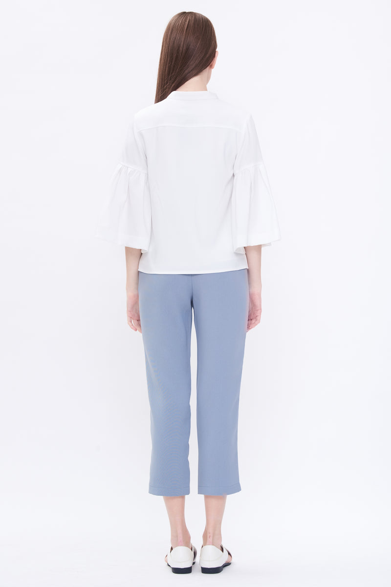 Bell Sleeve Shirt In White